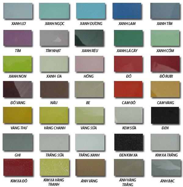 Bảng màu kính sơn ốp bếp tại Bà Rịa Vũng Tàu với hơn 30 màu sơn có thể phủ ánh kim.