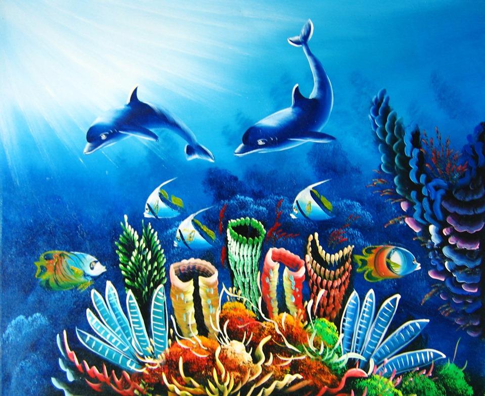 tranh cá heo đại dương